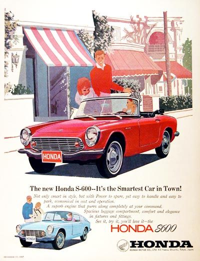 1966 Honda S600 Convertible Roadster Original Vintage Advertisement. Also  Features The Fastback Coupe Illustrated In · Honda Sports CarAd ...