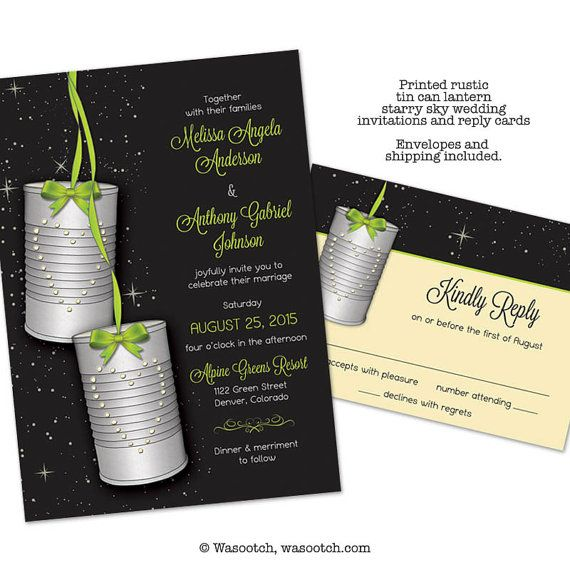 Rustic and Whimsical Tin Can Lantern Starry Sky Wedding Invitations and Reply Cards - Green, black and cream! Printed invitations and reply cards. Come with envelopes and prices include priority shipping.