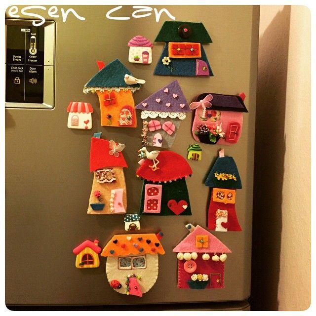 keçe, keçe magnet, magnet, buzdolabı magneti, keçe ev, felt, feltro, felt magnet, felt house