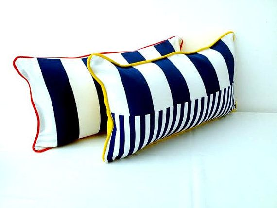 Small Nautical Throw Pillow, Wide And Narrow Blue Stripes On White, Beach  Cushion Design