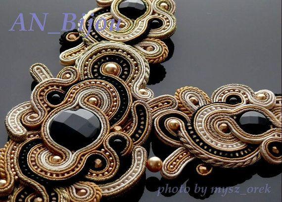 Black gold ecru necklace Soutache. от ANBijou на Etsy