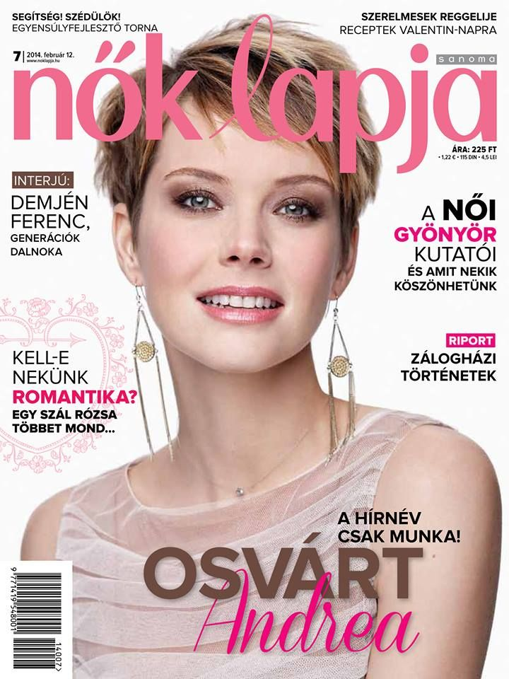 Hungarian actress Osvárt Andrea in a Daalarna Couture tulle top in the cover of Nők Lapja