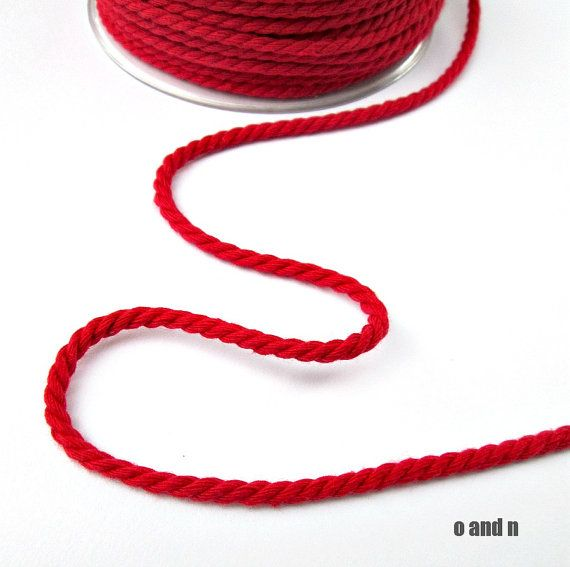 Red twisted cotton cord 4mm 3 meters by OandN on Etsy, $1.90