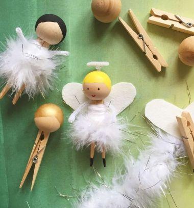 DIY Clothespin doll in feather skirt // Ruhacsipesz angyalka tollszoknyában // Mindy - craft tutorial collection // #crafts #DIY #craftTutorial #tutorial