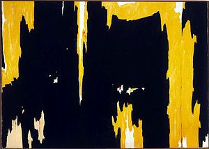 No. 1, 1957 by Clyfford Still, American painter and figurehead of the movement is known for his thick impasto opposed to the flat, thin layers used by his piers, Rothko and Newman. Still worked objectively, meaning, he didn't choose a subject to paint, just chose colors and experimented with their relationships and different types of paint. He is considered one of the foremost Color Field painters.