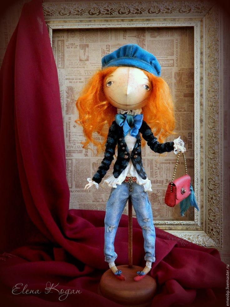 Купить Джинджер - тёмно-бирюзовый, Рыжая, джинджер, веснушки, джинсы, куклы елены коган
