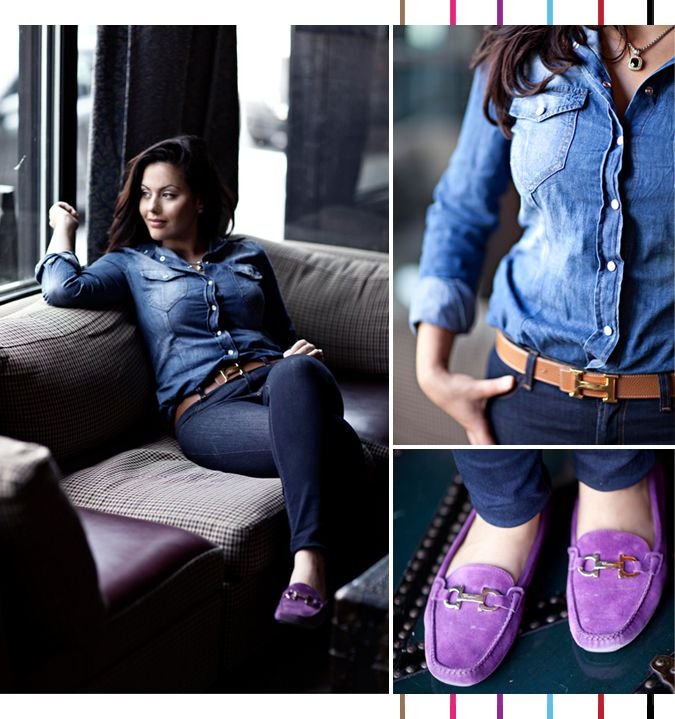 Casual chic hermes belt ferregamo Purple Loafer | via Serial Indulgence