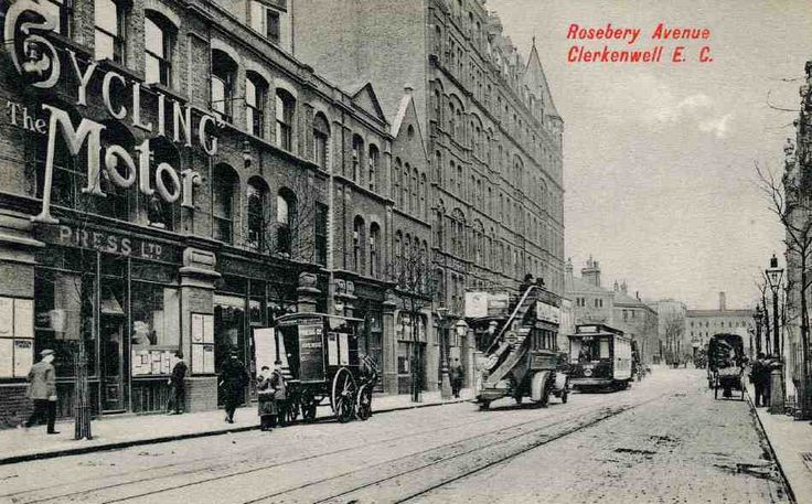 Rosebery Avenue looking north, c. 1910. Left to right: Nos 7–15, premises of Temple Press; Nos 17, 19–21, Barnstaple and Bideford Mansions