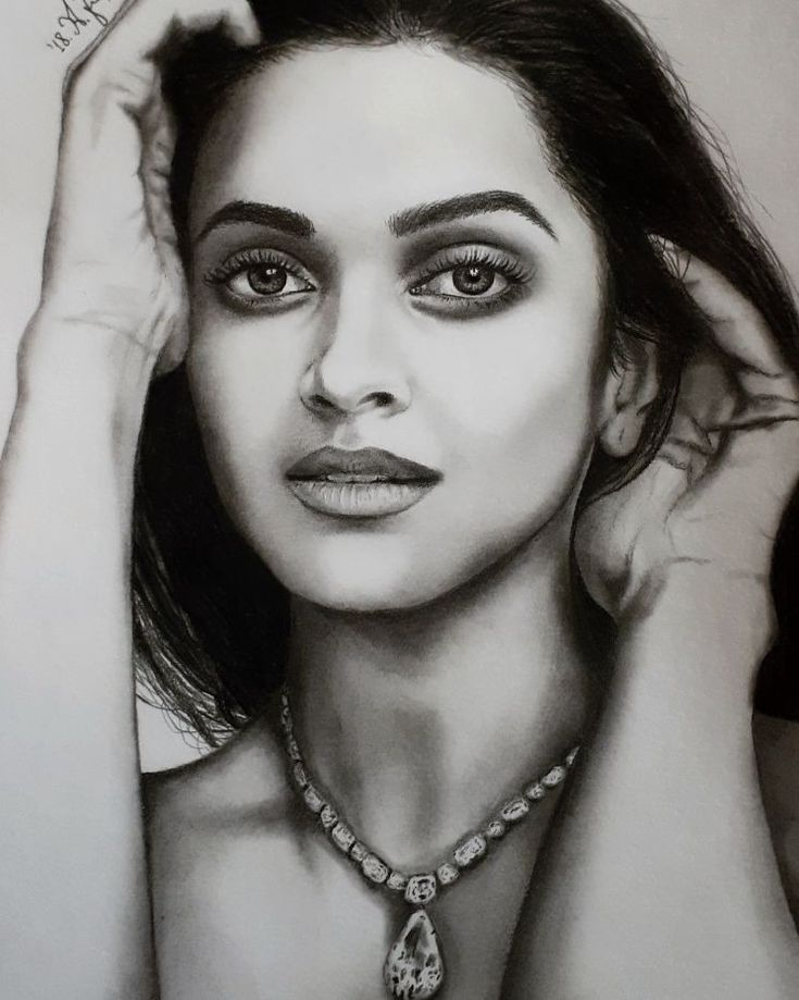 Deepika Padukone pencil drawing by @alexandra.zeres.art on Instagram