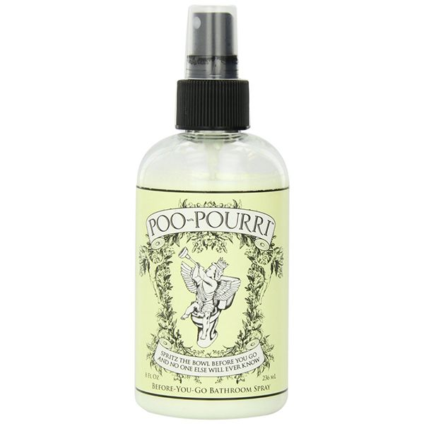 Poo Pourri . Spray it in the loo before you go. LOVE the commercial on youtube for this product.