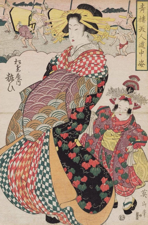 Yosooi of the Matsubaya. Ukiyo-e woodblock print, early 1800's, Japan, by artist Kikugawa Eizan.