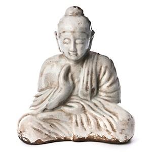 "Vern Yip Home 12"" White Glazed Ceramic Sitting Buddha Statue at HSN.com."