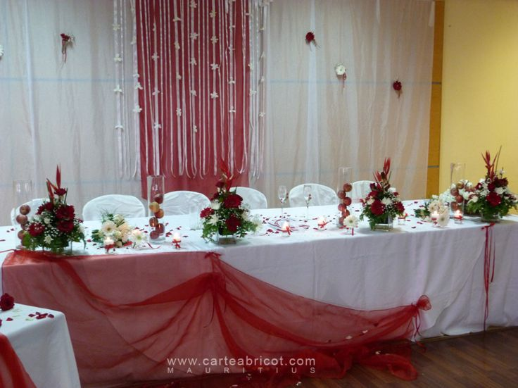 D coration f te d co de table mariage rouge et blanc - Deco table blanc ...