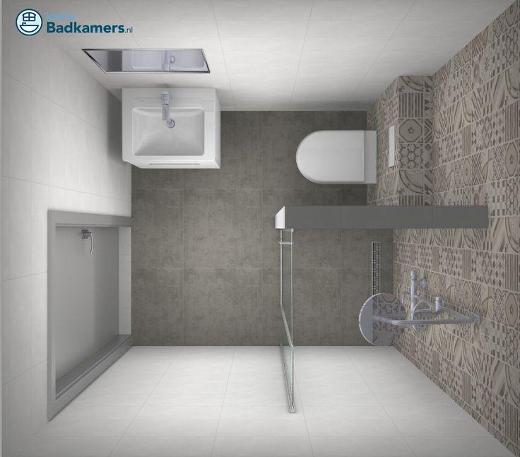 Kleine badkamer met trendy tegels - Kleine badkamers