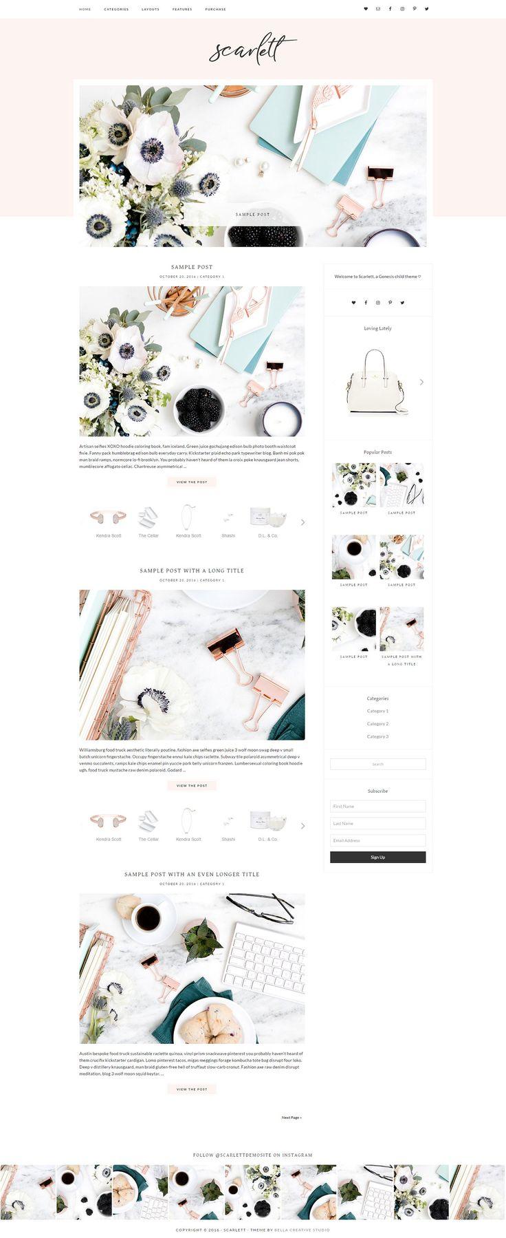 Scarlett - WordPress Theme - Blog feminine (affiliate)