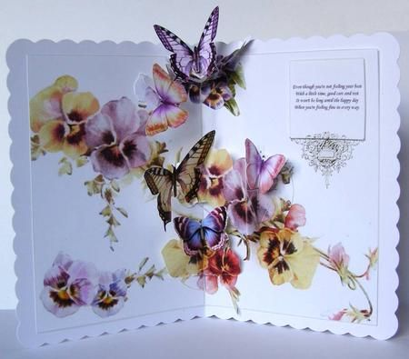 Vintage Pansies Butterflies Animated Popup Card Kit on Craftsuprint designed by Robyn Cockburn - made by Margaret McCartney - SR - I'm not a paper crafter but I love all the old 'Victorian' type cards and would love have some.