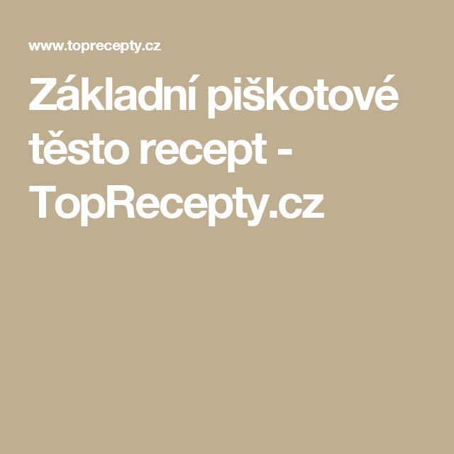Základní piškotové těsto recept - TopRecepty.cz