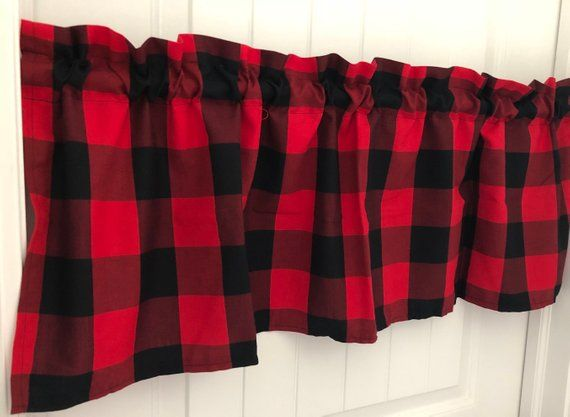 Red And Black Buffalo Check Lumberjack Winter Curtain Valance