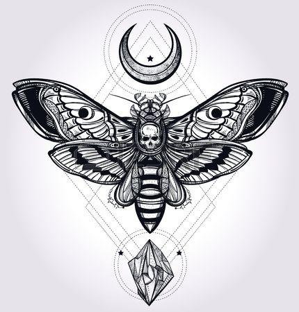 Morti testa di falco falena con lune e pietre Disegno arte del tatuaggio Illustrazione vettoriale is Archivio Fotografico