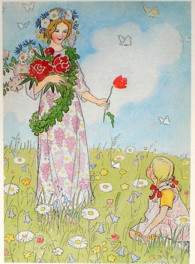 Travel Journal-Art Diary-Eclectic Design Book-Inspirational Art Page-Elsa Beskow from 'The Flower's Festival'-2-1
