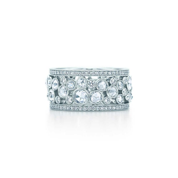 Anniversary present maybe?..Tiffany Cobblestone band ring in platinum with diamonds, 20 mm wide.