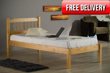 3ft Astra Pine Bed Frame £179.95 3ft single size spindle design pine bed frame made from 100% pine.   Features double bolted side rails for strength, solid pine slats which all screw individually to side rails for additional durability