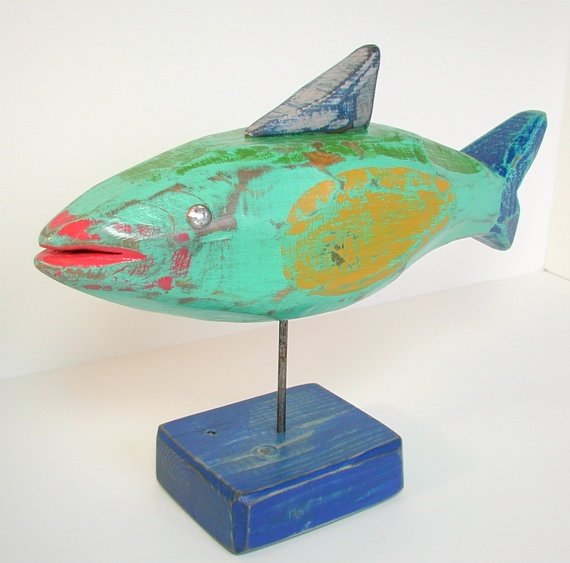 wood fish folkart painted fish sculpture by folkybirdsandfish