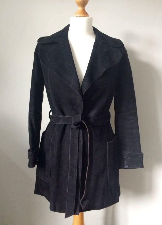 70s Zwart Suede jas Suede Vintage jas kleine Suede jas