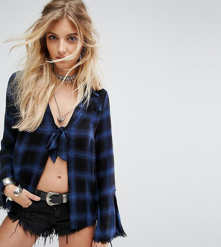 Kiss The Sky Tie Front Shirt In Soft Check - Blue