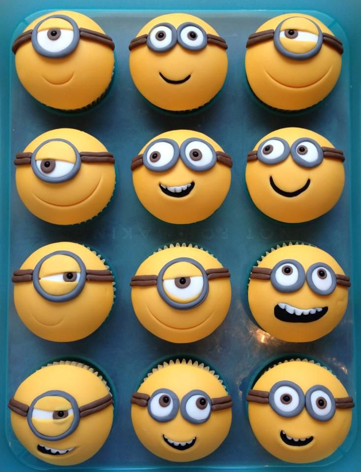 Minion cupcakes - for Bradley's 1st birthday
