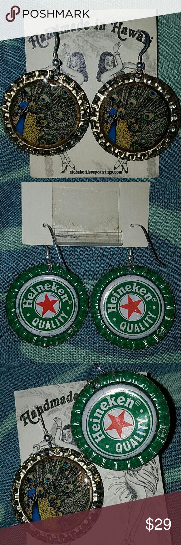 Peacock beer bottle cap earrings aloha Heineken br Brand new reversible Peacock feather earrings made from Heineken Brewing co beer bottle caps. Brand is Aloha bottlecap earrings, handmade in Hawaii on the North Shore on Oahu with high-quality resin out of recycled sterilized real beer bottle caps. Firm on price & not interested in trading. Mahalo Aloha Bottlecap Jewelry Earrings