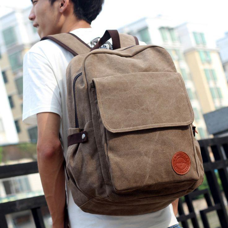 Man bag backpack canvas backpack laptop bag travel bag casual middle school students school bag