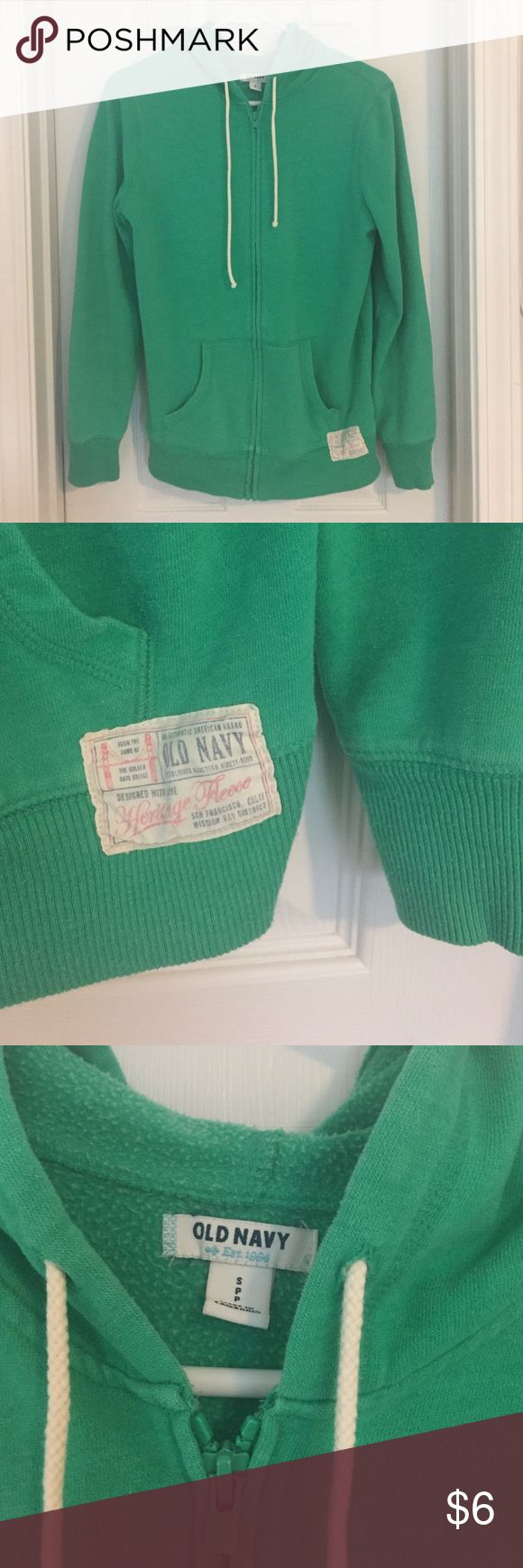 WOMEN: old navy hoodie old navy    zip-up hoodie    small    it's really more green than pictured    great used condition other than the bleach stain on backside of left sleeve ): Old Navy Tops Sweatshirts & Hoodies
