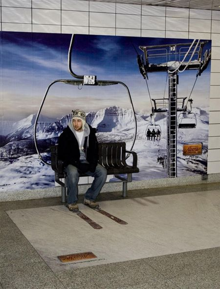 Clever Advertisement - Alberta Travel Advertisement. A nice little guerrilla marketing campaign to promote skiing in Alberta, Canada.