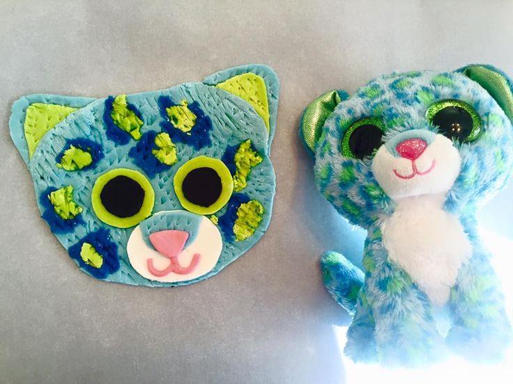Beanie Boo Quot Leona Quot Blue Cheetah Cake Topper Fondant