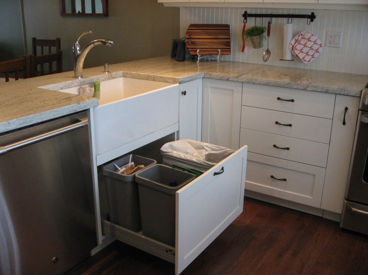 Put Oven Mitts in Organizing Ideas: Under Sink Drawer Plus Garbage Recycling For Garbage Kitchen With White Cabinet Plus Marble Countertop Also Oven Mitt On Hook ~ klfs.org Ideas