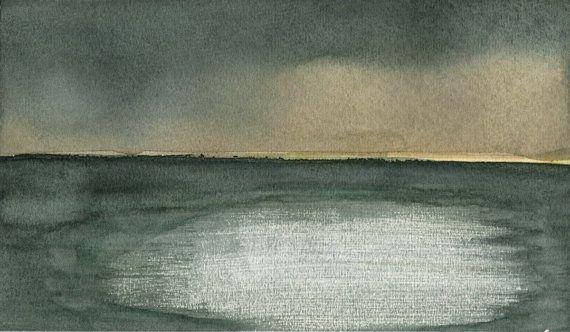 Paesaggio marino in tempesta in acquerello astratto di MarMusArt