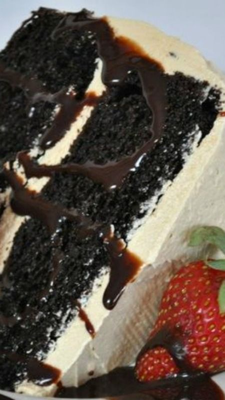Cappuccino Cake ~ Incredibly moist dark chocolate cake with whipped cappuccino buttercream frosting... Truly one of the best cakes ever, THIS cake is THE showstopper!