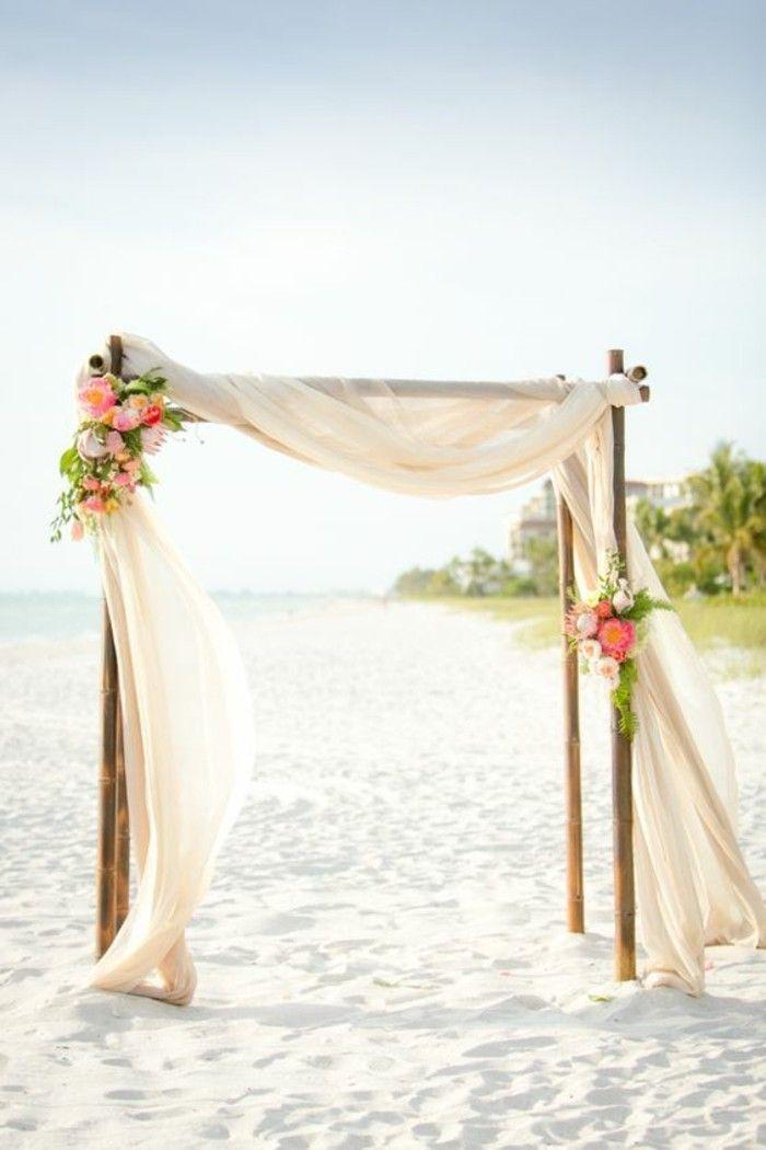 décoration arche mariage en tulle, mariage au bord de la mer