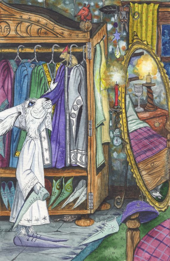 Ledel's 'Saztaculous' Wardrobe! - A3 Print by Jacqui Lovesey from 'Trial of the Majical Elders' - fantasy hare art.
