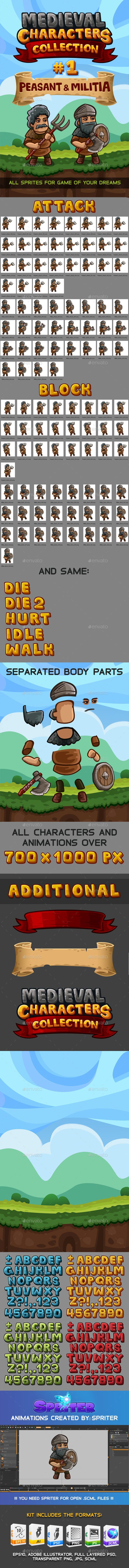 Medieval Game Sprites Characters Collection #1 — Photoshop PSD #peasant #fun • Available here → https://graphicriver.net/item/medieval-game-sprites-characters-collection-1/14074893?ref=pxcr