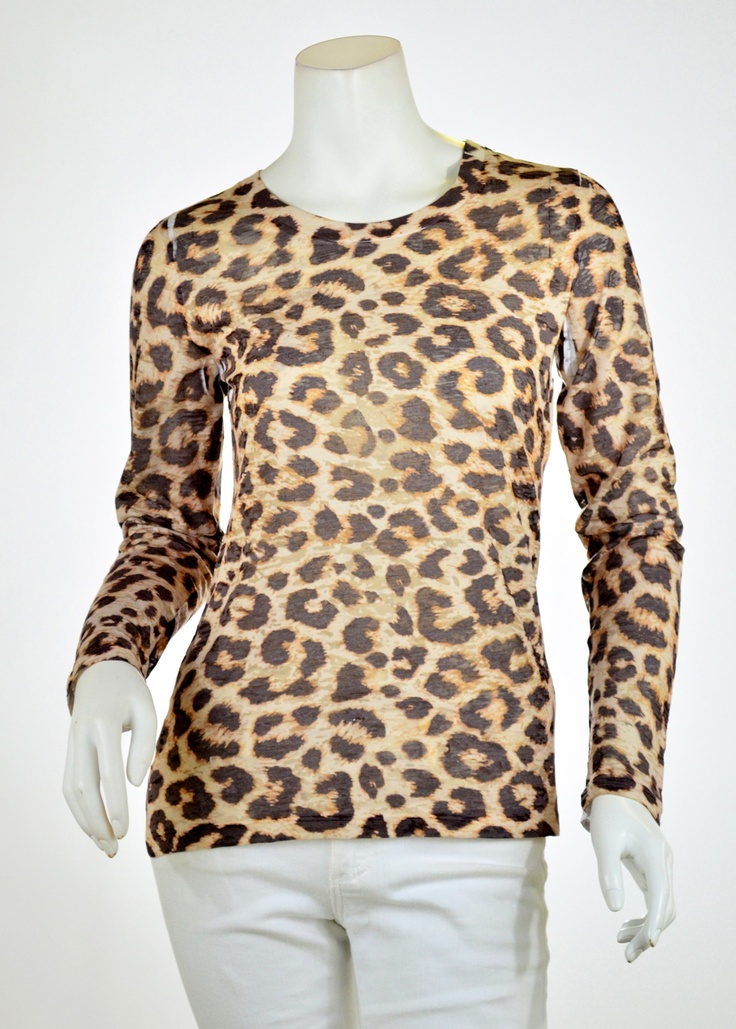 Jaguar Sand (7280) ) Sheer Long Sleeve Crew T-shirt