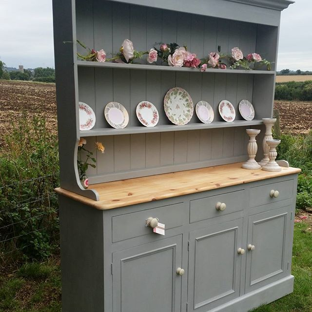 Beautiful Farmhouse Welsh Dresser in Paris Grey Chalk Paint® | #AnnieSloan Instagram share