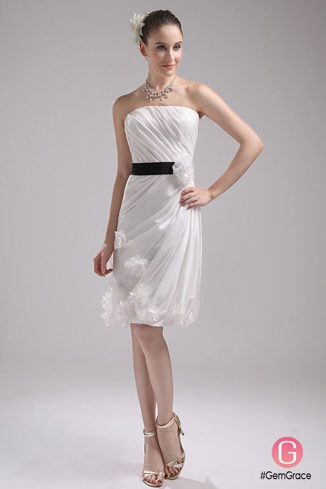 Elegant Reception Short Wedding Dresses With Color White With Black