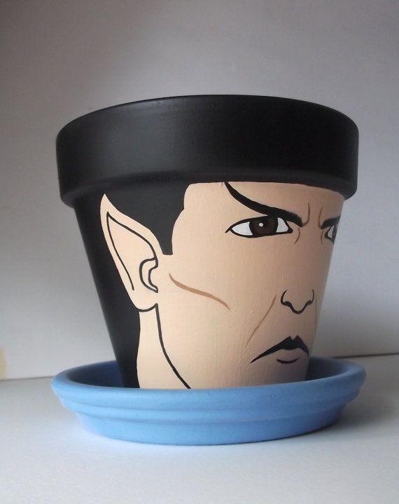 Star Trek Spock Hand Painted Flower Pot Gift Set