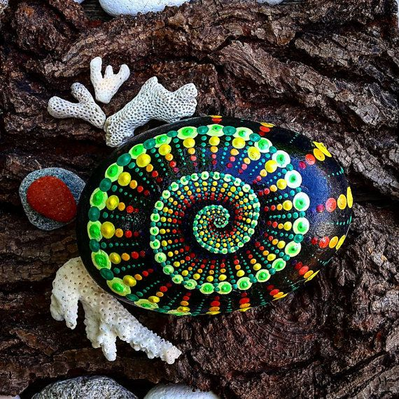 Colorfull Painted Pebble art Dot Mandala Style- Natural Eco Nature Stone Rock…