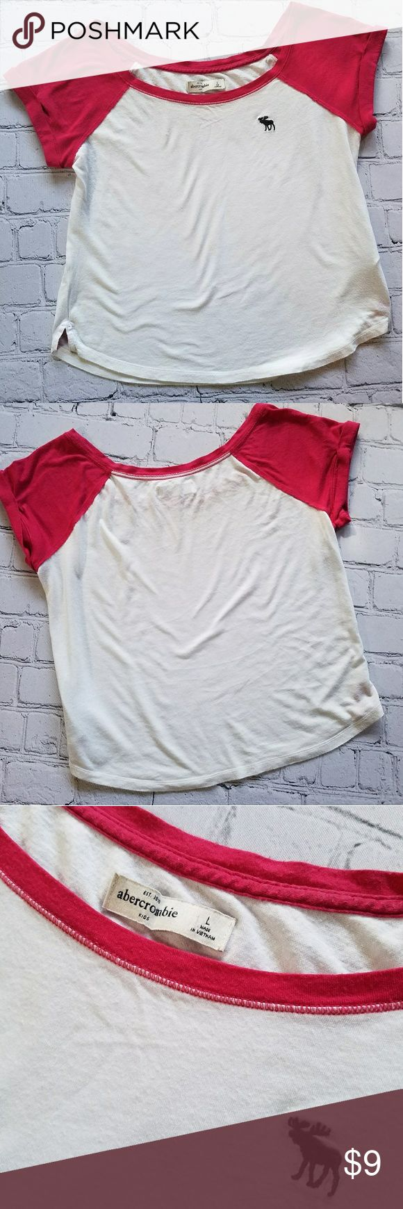 Abercrombie Girls Light T-shirt Sz Large Cute, light-weight basic, & casual. Good condition!  Rolled sleeves Wide & loose Abercrombie Kids Size Large Hot pink sleeves, neckline and bottom hem insides. Curved bottom hem Abercombie Kids Shirts & Tops Tees - Short Sleeve