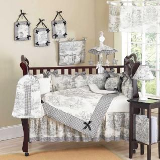 Let the little one in your home settle down to sleep in this incredible nursery set. This elegant baby girl crib bedding set uses a traditional French toile print with a super soft chenille and coordinating gingham, decorated in satin bows as a special accent. This collection uses the stylish colors of Black and Cream.