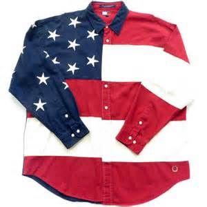 Tommy Hilfiger American Flag Button Down Shirt Sz XL