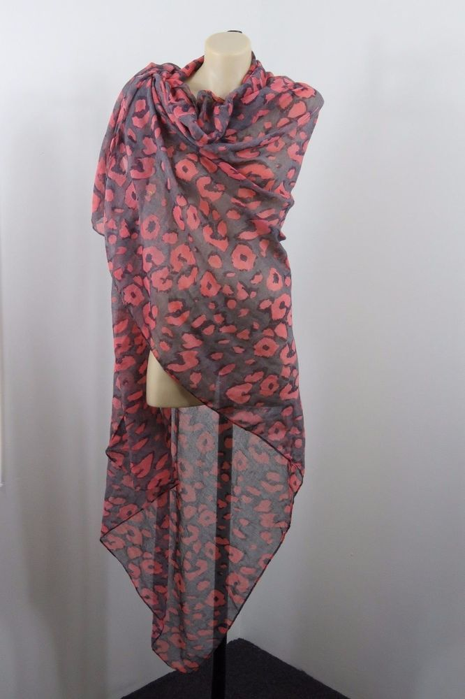 Ladies Grey Scarf Wrap Beach Sarong Boho Chic Retro Layer Festival Poppy Design #Unbranded #ShawlWrap